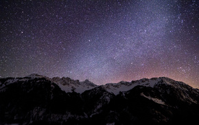 night, mountain, stars, nature, sky