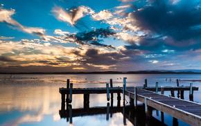 clouds, birds, pier, sky, water