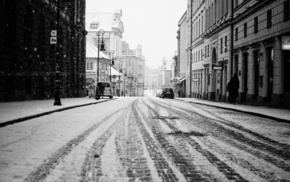 people, cities, city, road, snow