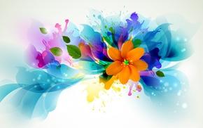 flower, leaves, splash, lines, petals