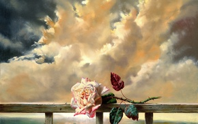 sky, flower, clouds, rose, lodge