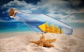 небо, паруса, морская звезда, макро, Песок, бутылка