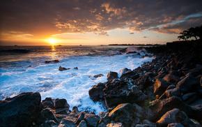камни, природа, океан, Hawaii, гавайи, закат
