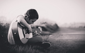 boy, guitar, music