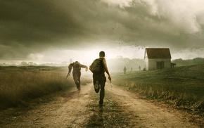 zombies, gun, clouds, field, video games