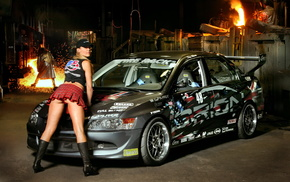 automobile, cars, Mitsubishi, pose, girl