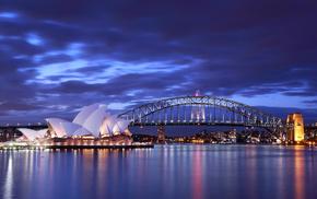 Australia, cities, lights, evening, bridge