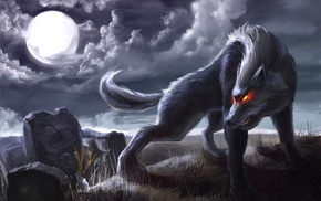 fantasy, moon, wolf, night