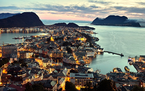 sea, Norway, cities, panorama, city