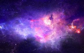 planet, nebula, space, stars, art