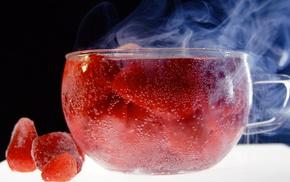strawberry, cup, tea, macro