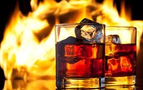 drink, flame, stemware, ice, fire