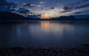 облака, вечер, гладь, природа, берег, закат