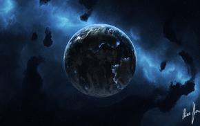stars, space, nebula, art, planet