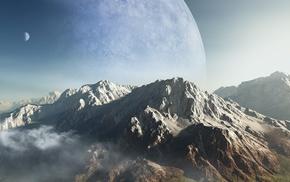planet, mountain, art, 3D, height