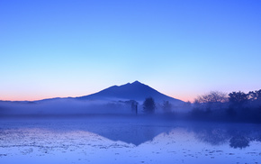 nature, lake, mist, evening, Japan