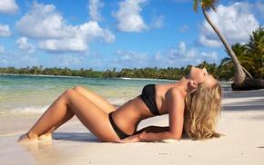 sand, bikini, water, palm, swimwear