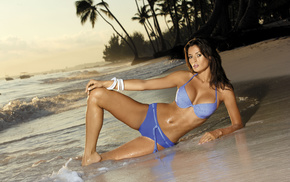swimwear, beach, bikini, sand, brunette