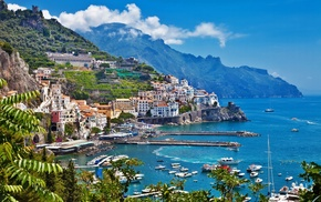 Italy, houses, mountain, sea, sky