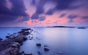 берег, вечер, природа, тучи, небо, оранжевый