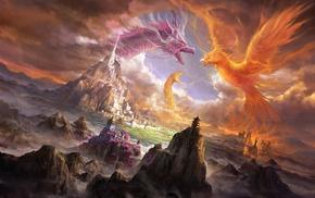 dragon, snake, city, art, fantasy
