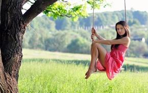 girls, tree, grass, girl, nature