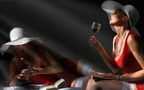 hat, wine, girls, wineglass