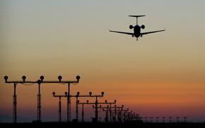 самолёт, закат, авиация, красивые