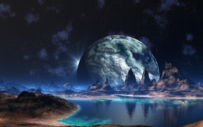 fantasy, water, mountain, planet