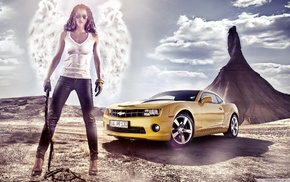tank top, girl, color, cars, yellow
