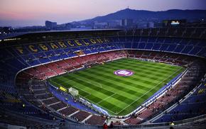field, sports, soccer, evening