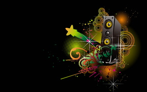 drawing, stars, 3D, rays, music