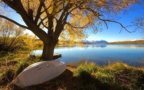boat, coast, autumn