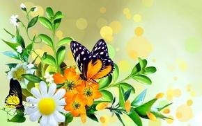 stunner, butterfly, flowers