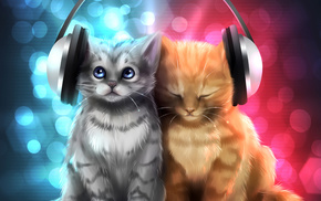 kittens, headphones, creative, gray