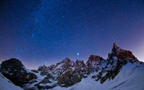 звезды, пейзаж, созвездия, Ночной, небо, природа