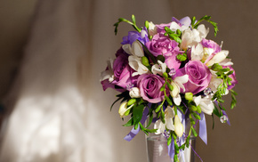 roses, bouquet, flowers, purple flowers