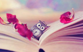 vintage, petals, clocks, owl, book