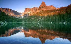 lake, reflection, nature, mountain