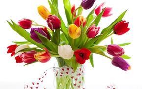 vase, tulips, flowers, bouquet