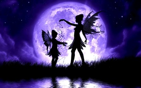 fantasy, night, wings, moon, water