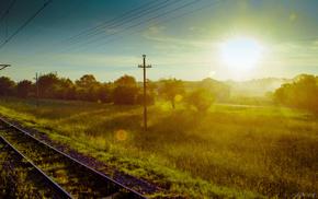 railway, nature, sunset