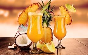 Cocktails, кокос, бокалы, коктейли, ананас, вкусно