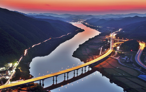 cities, mountain, river, bridge, hills