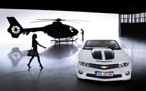 girl, helicopter, cars
