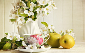 cup, tea, delicious, apples, flowers