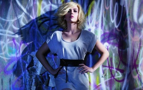 hands on hips, Hollywood, actress, graffiti, Scarlett Johansson, against wall