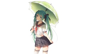 school uniform, umbrella, Hatsune Miku, Vocaloid