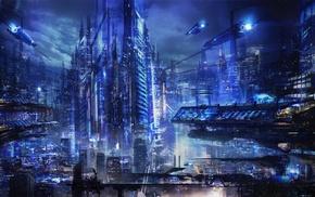 cyberpunk, city, futuristic