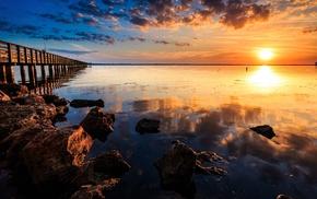 море, закат, солнце, природа, пирс, камни